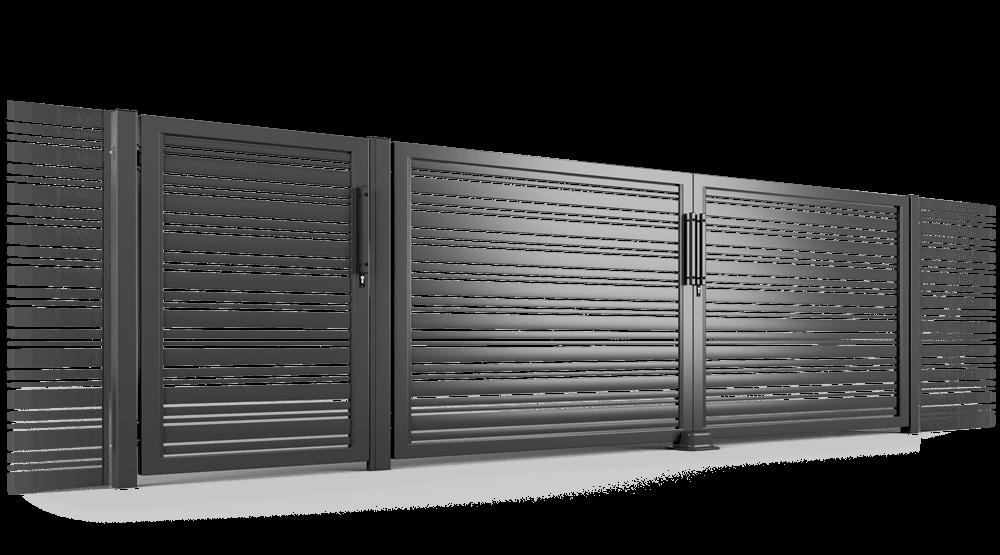 Ogrodzenie palisadowe seria PP002 DIVERSO brama uchylna