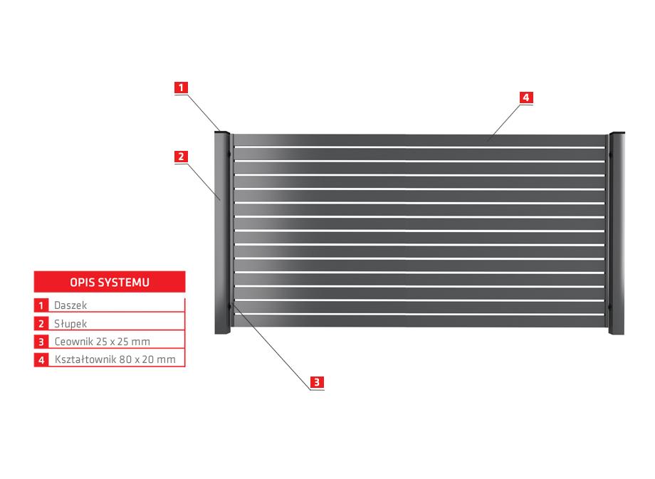 Border Ogrodzenie palisadowe PP 002 (P82)