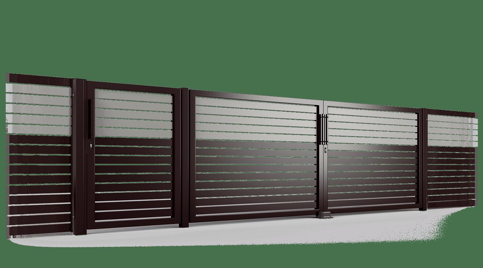 PP002P82 colore I brama uchylna ogrodzenie palisadowe stylizowane BORDER KONSPORT