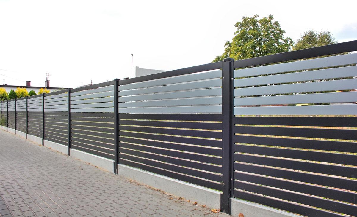 PP002P82 colore I ogrodzenie palisadowe stylizowane BORDER KONSPORT
