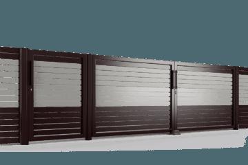 PP002P82 colore II brama uchylna ogrodzenie palisadowe stylizowane BORDER KONSPORT