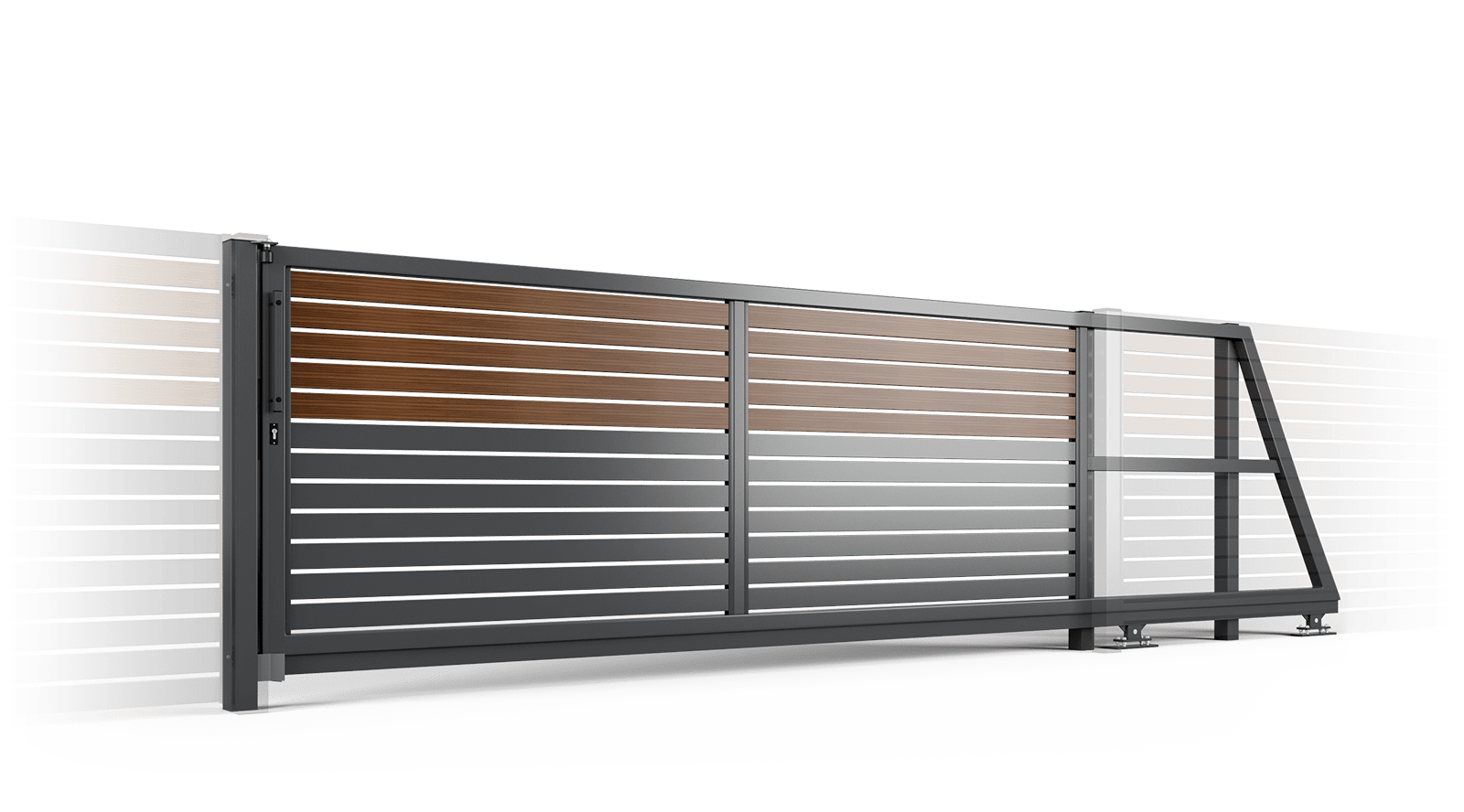brama samonosna ogrodzenie palisadowe stylizowane PP 002 (P82) NOCE I BORDER KONSPORT