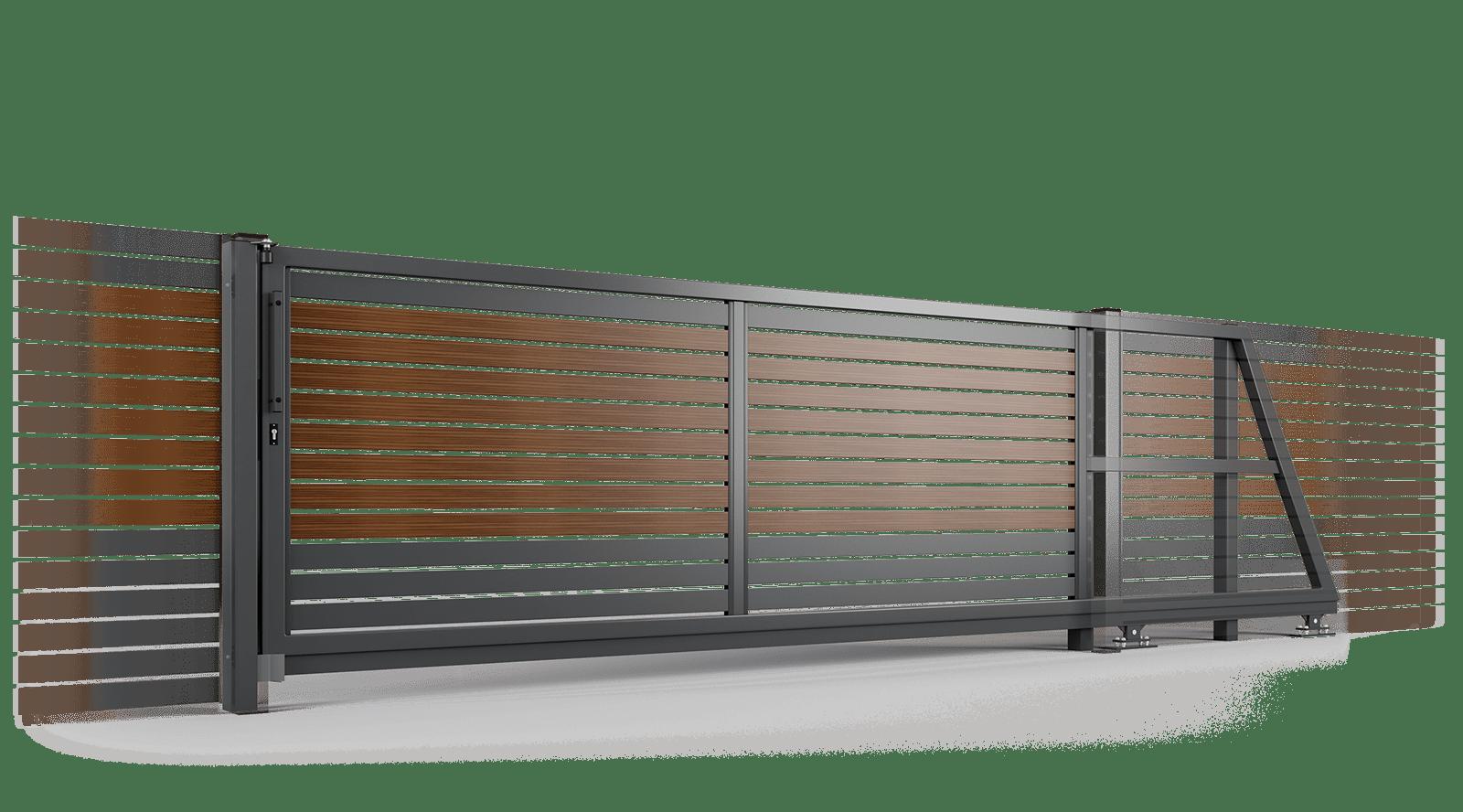 brama samonosna ogrodzenie palisadowe stylizowane PP 002 (P82) NOCE II BORDER KONSPORT