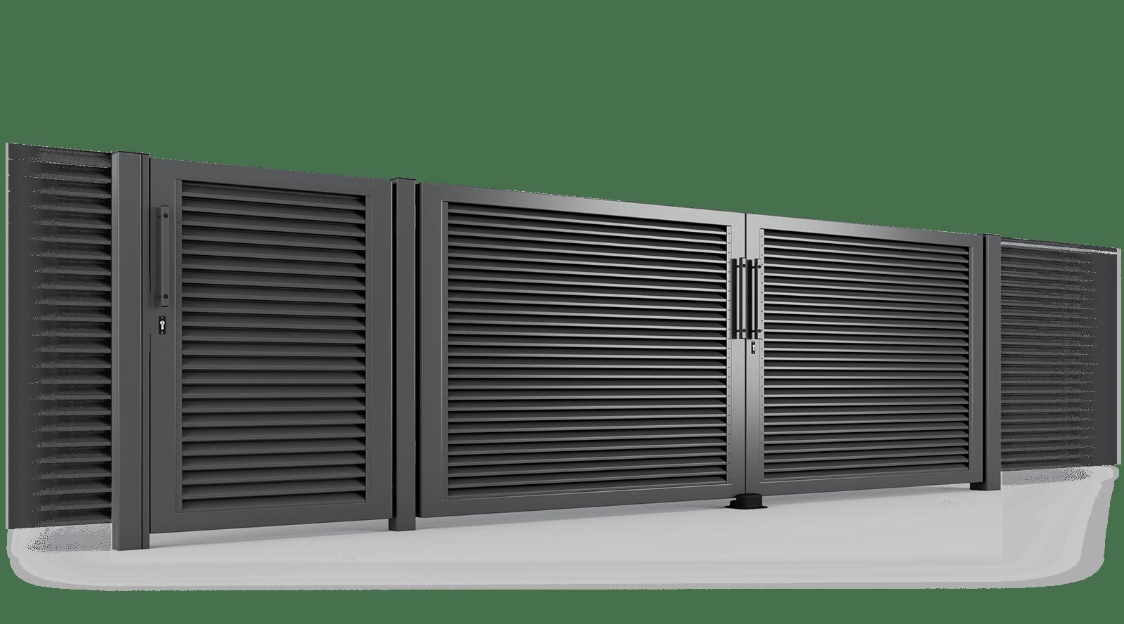 brama uchylna ogrodzenie palisadowe żaluzyjne PS 004 BORDER KONSPORT