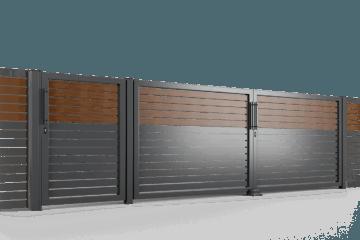 brama uchylna ogrodzenie palisadowe stylizowane PP 002 (P82) NOCE I BORDER KONSPORT