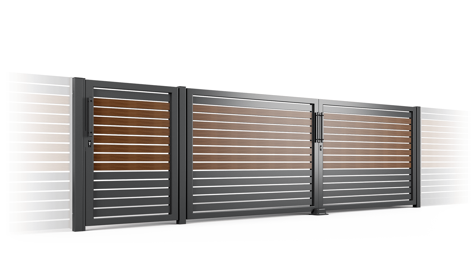 brama uchylna ogrodzenie palisadowe stylizowane PP 002 (P82) NOCE II BORDER KONSPORT