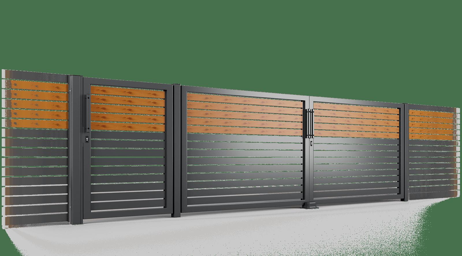 brama uchylna ogrodzenie palisadowe stylizowane PP 002 (P82) PINO I BORDER KONSPORT