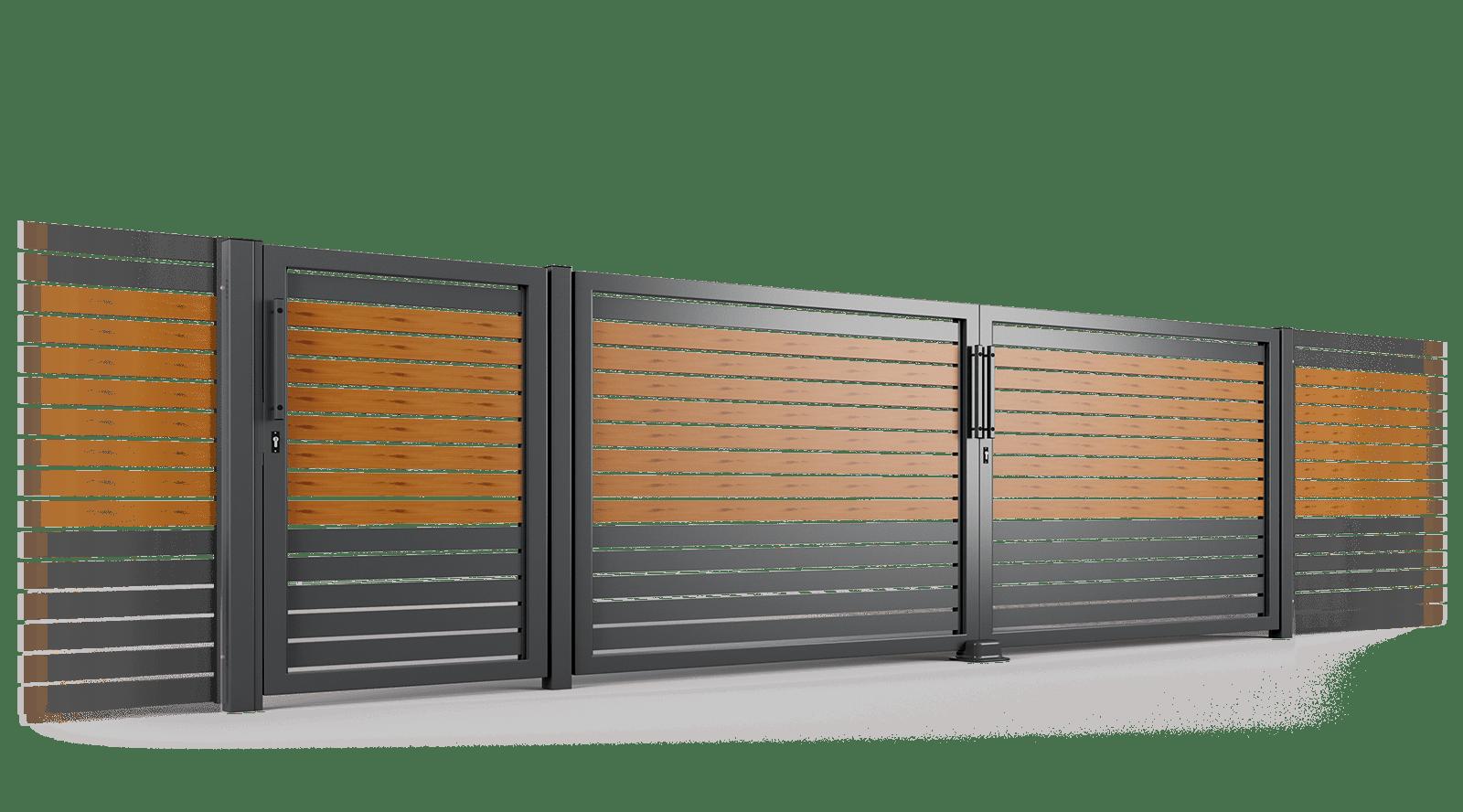 brama uchylna ogrodzenie palisadowe stylizowane PP 002 (P82) PINO II BORDER KONSPORT