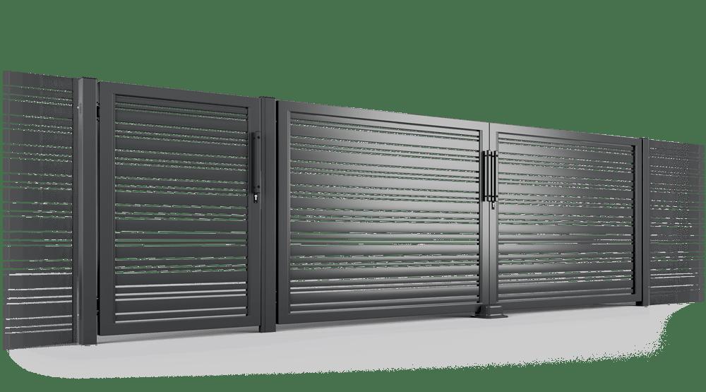 brama uchylna Ogrodzenie palisadowe PP002 DIVERSO KONSPORT BORDER