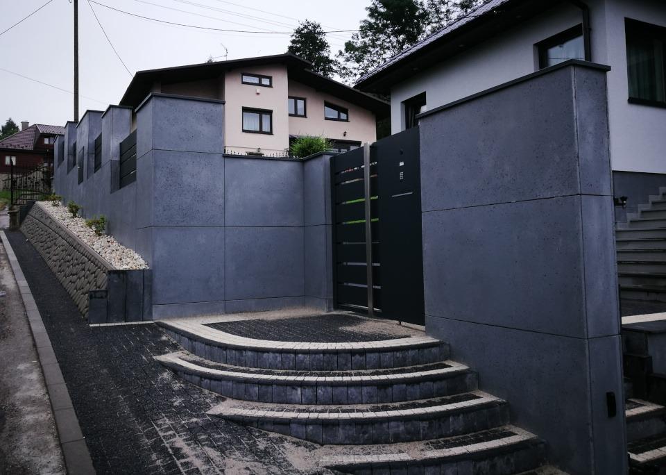 ogrodzenie murowane ogrodzenia border ogrodzenia aluminiowe alugate beton architektoniczny rfid videodomofon (2)